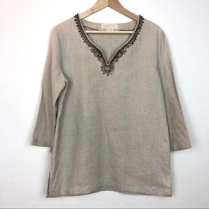 NWOT Michael Kors Linen Beaded Tunic
